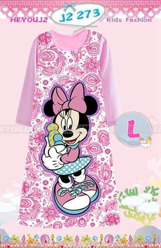 Picture of Minnie Mouse  Pattern Long Dress Sleepwear For Kids (2-7y)