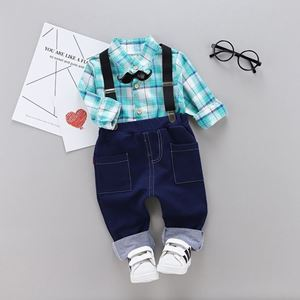 Picture of Handsome Plaid Strap Long-Sleeve Shirt and Pant Two-Piece Set