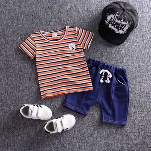 Picture of Stripe Orange Short Sleeve Shirt and Pant Two-Piece Set