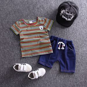 Picture of Stripe Green Short Sleeve Shirt and Pant Two-Piece Set