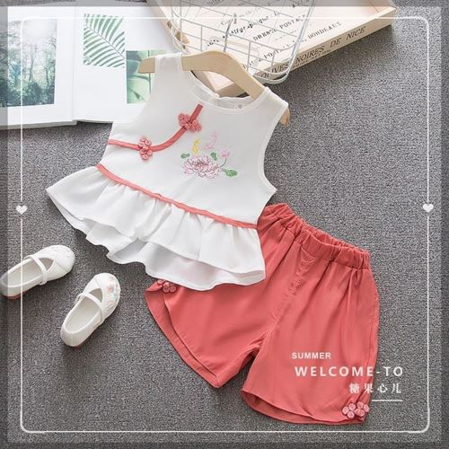 Picture of Chinese Style Floral Top&Pans Two-Piece Clothing Set