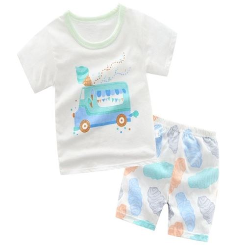 Picture of Ice-cream Van Printed Short Sleeve Casual Wear Clothing Set